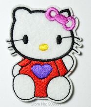 Hello Kitty Purple Heart Love iron on applique patch or Sew on fashion embroidery cartoon garment(China)