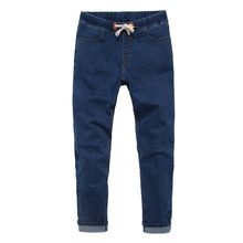 New Mens Casual Jeans Winter Male Fashion Slim Fit Solid Warm Denim Trousers Elastic Long Stretch Straight Thick Baggy Pants(China)