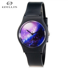 Willis marca mujeres relojes diseño agua cielo estrellado reloj resistente  ultrafina silicona banda reloj relojes relogios 82552dd9137f