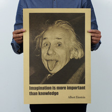 1 pcs Albert Einstein poster paper Retro Vintage Stickers Wall imagination is more important than knowledge