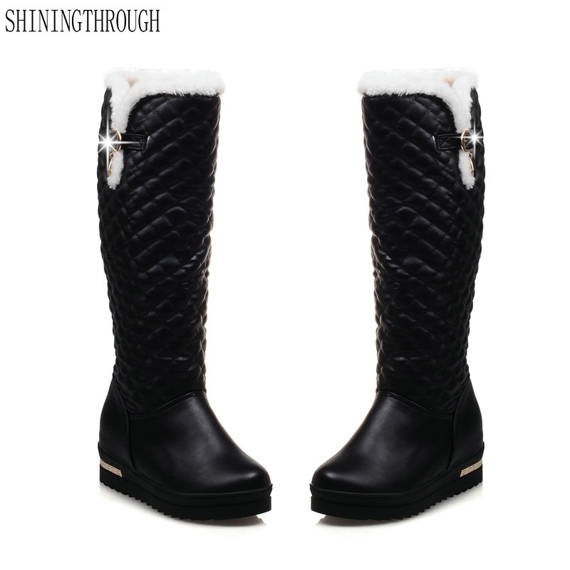 New sexy women boots fashion knee high boots med heel boots woman winter snow boots black white pink shoes woman<br>