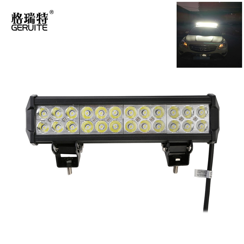 12 Inch 72W LED Light Bar offroad Truck Trailer 4x4 4WD SUV ATV Off Road Spot Working light Lamp flood Spot Combo Beam<br>