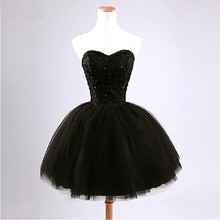 Black Bridesmaid Dresses Short Puff Sweetheart Lace Tulle Black And White Wedding Party Bridesmaid Gown Veatido De Festa