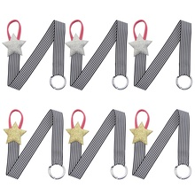 6Pcs/Lot Fashion Striped Hair Ribbons Hairbow Holder Elastic Hair Band Hanger Hair Bow Clips Storage Girls Hair Accessories(China)