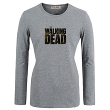 Summer Fashion T shirts Punk Style The Walking Dead Zombies Art Printed Long Sleeves T-Shirt Women Girl Graphic Tee T shirt
