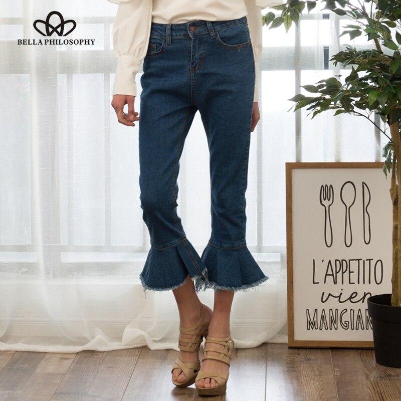 Bella Philosophy 2017 spring  summer denim Ruffles calf-length zipper pants blue blackОдежда и ак�е��уары<br><br><br>Aliexpress