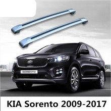 Car Aluminum Roof Rack Rail baggage luggage Cross Bar For KIA Sorento 2009-2017 (With Lock) (Silver black)