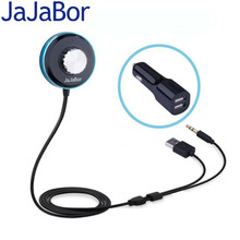 JaJaBor Bluetooth A2DP Car Kit AUX Handsfree Audio Music Player With Indicator Blue Light Dual USB Car Charger Support IOS Siri(China)