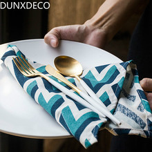 DUNXDECO Table Placemat Cotton Tea Towel Napkin Meditteranean Modern Dark Blue Weave Print Home Store Desk Decoration