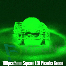 100pcs 5mm Square LED Piranha Green 3V Water Clear Round Super Flux LED Light Emitting Diode Lamp Through Hole Transparent Bulb