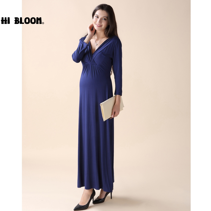 HI BLOOM Tencel Maternity Dresses for Pregnant Women Long Prom Evening Party Vestidos Gown Maternity Clothing<br>