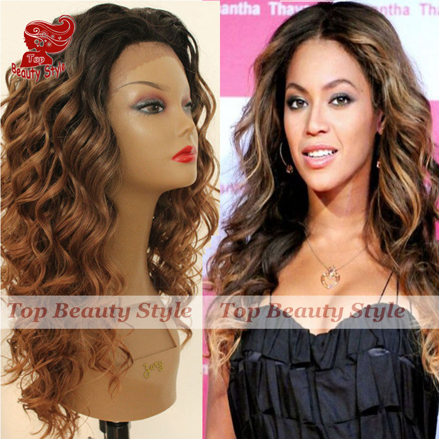 2016 Hot Sales Black Brown Color Ombre Wig Hair Curly Glueless Heat Resistant Loose Curl Synthetic Lace Front Wigs for Women<br><br>Aliexpress