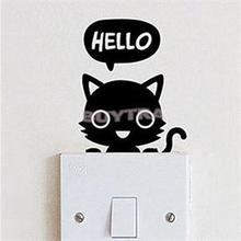 New Designer Sticky Wall Paper For Diningroom Decoration Cute Cat Switch Wall Stricker(China)