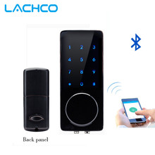 LACHCO Bluetooth APP Connect Electronic Smart Door Lock Touch Screen Keypad Code Key Zinc Alloy Black and Red Copper 076BRC-5(China)