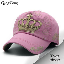 Luxury Gold Embroidery Crown Parent Child Baseball Cap Leisure Pink Women'S Hats Girl Boys Cotton Hat Kids Snapback Caps(China)