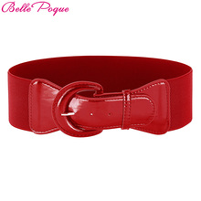 Belle Poque Fashion Women's Wide Belt Faux Leather 2017 Stretchy Elastic Solid Casual Waist Belts Waistband for Ladies' Dress
