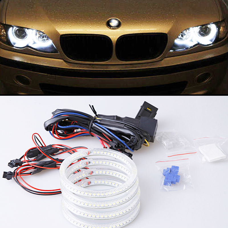 Low price SMD Angel eyes for E46 Coupe 2D Cabrio 4*106mm Car styling led headlight auto replacement accessory<br><br>Aliexpress