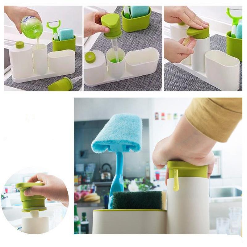 ASFULL Multifunctional Washing Sponge Storage Sink Detergent Soap Dispenser Storage Rack Hand Sanitizer for Bottle Kitchen use 10