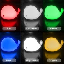 Cute Dolphin USB Rechargeable Children Night Light Baby whale Multicolor LED Light silicone Pat lamp bedside touch Dolphin Light