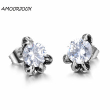 AMOURJOUX 2017 Fashion White/Black Zircon in Claw Stainless Steel Stud Earrings for Women Men Studs Female Male Earring