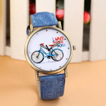 Fashion Vintage Girls Kids Bike Watches Women Wristwatch Canvas Fabric Strap Bicycle Pattern Quartz Cartoon Ladies Watch Clock