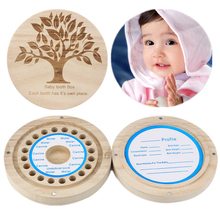 English Tree Tooth Box Organizer for Baby Milk Teeth Save Wood Storage Box for Kids Magnet Storage Boxes Cases Wholesale 30JE27