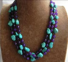 New 3 Rows new free shipping stone calaite turquoises Faceted Purple jades chalcedony & Crystal Beads Necklace BV359