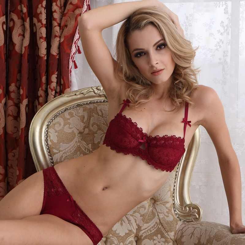 ae0202a535f43 Fashion sexy lace comfortable ultra-thin transparent bra women s underwear  bow bra set dot plus
