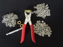 High Quality sliver 100 Sets 9.5mm Prong Ring Press Studs Snap Fasteners Baby Clothing Buttons Dummy Clip + Hand press Plier(China)