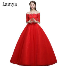 Lamya Vintage Red Boat Neck Wedding Dresses With Short Sleeves 2017 Lace Ball Gown Vestidos De Noiva alibaba retail store