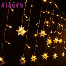 Kingko 3.5M Snowflake LED String Curtain christmas lights outdoor Wedding Decor Holiday lighting e61209 DROP SHIP