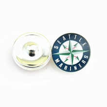 Popular Baseball Sports MLB Seattle Mariners Team Logo Glass Snap Button for 18mm Snap Bracelet Jewelry 20pcs/lot