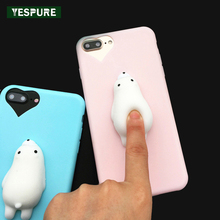 YESPURE 3D Cute Squishy Phone Cover Plain Cheap Cell Phone Covers for Iphone 6 6s Plus 7 TPU Soft Silicone Funda Celular Pink