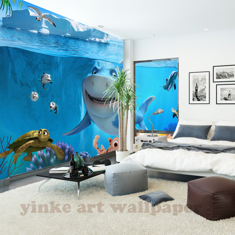 HTB1EGF9aamgSKJjSspiq6xyJFXaG - Custom 3D Mural Wallpaper Non-woven children Room wall covering Wall paper 3d stereo sea world 3D kid Photo Wallpaper Home Decor