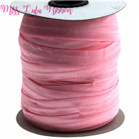 "5/8""16mm solid color pink matt fold over elastic ribbon foe hair ties headwear sewing elastic band  decoration crafts 50 yards"