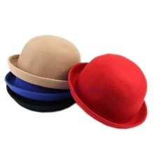 KLV Fashion 2017 New Hot Vintage Women Lady Cute Trendy Wool Felt Bowler Derby Hat Cap Winter Warm Hat Solid 4 colors(China)
