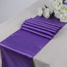 "Hot/Free shipping 5PCS Purple 12""x108"" Satin Table Runners Wedding Party Banquet Decoration Many Colors(China)"