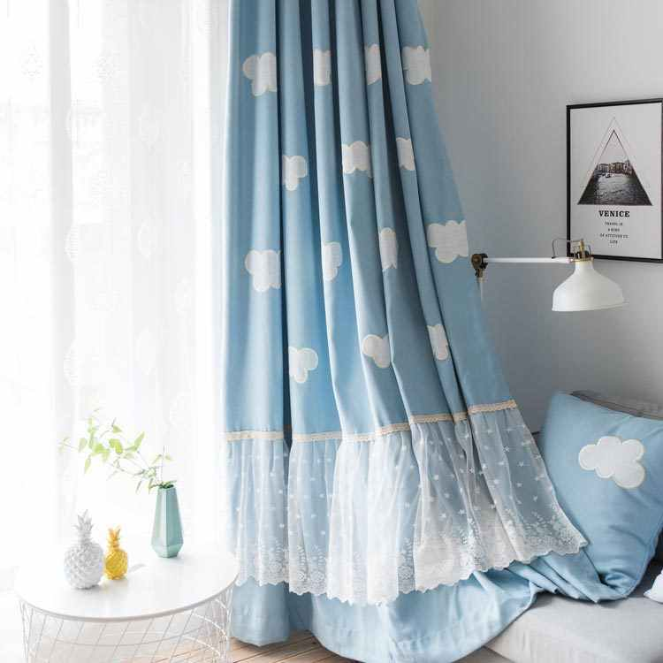 Blue Sky, White Clouds, Cartoon Cotton, Linen, Velvet, Embroidered Children's Room Curtains for Living Dining Room Bedroom.