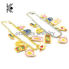Brand Drop Shipping Sailor Moon Charm Bracelet Gold Cute Bracelet Bangle Christmas Gift for Women Girl Cartoon Charm Bracelet