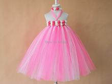 bubble gum pink tutu dress for princess retail wholesale handmade DIY bright color flower dress for girls  free shipping
