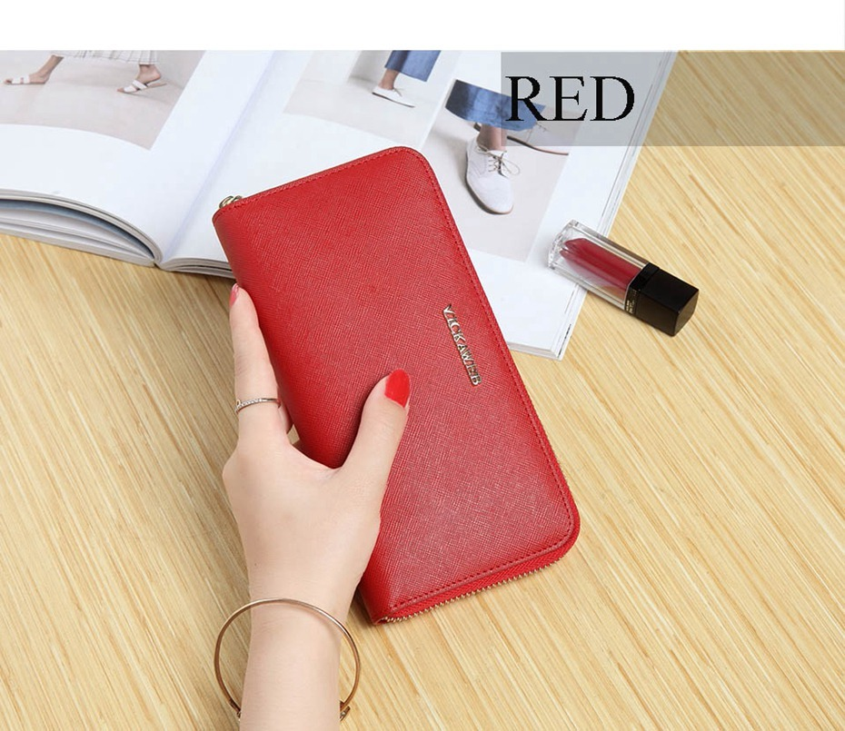 VICKAWEB Big Female Wallet Solid Women Wallets Genuine Leather Zipper Long Purses New Standard Wallets Fashion Ladies Purse 06-VICKAWEB06--006