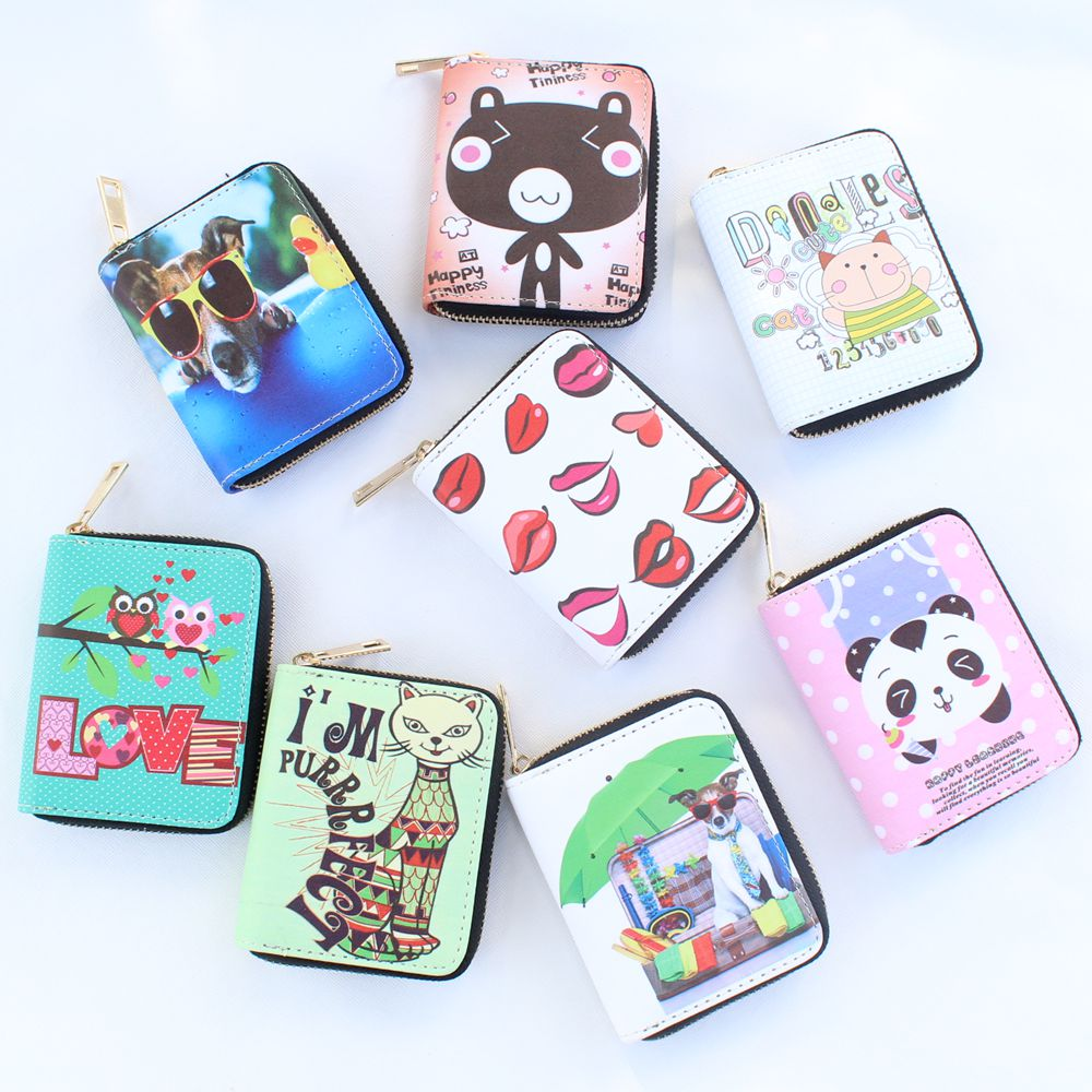 New Cute PU leather printing dogs/cats wallet,Girls purse,Women coin wallet card ID holder childrens wallets Kid Clutch purses<br><br>Aliexpress