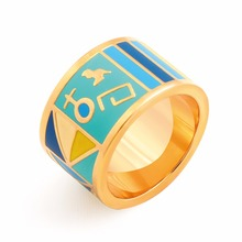 2017 New Stainless Steel Rings for Men Women Midi Enamel Ceramic Ring Vintage 18K Real Gold Plated Jewelry Wedding Ladies Anel