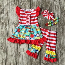 kid girls boutique clothing baby girls back to school clothes children car to school outfits stripe ruffle pant with accessories