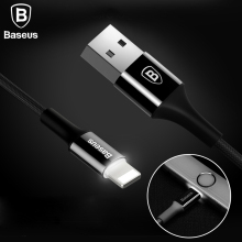 Baseus LED Light USB Cable For iPhone 7 6 6s Plus 5 5s se iPad Air Mini 2A Fast Data Sync Charging Charger Mobile Phone Cables