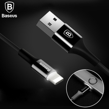 Baseus LED Light USB Cable For iPhone 7 6 6s Plus 5 5s se iPad Air Mini 2A Fast Data Sync Charging Charger Mobile Phone Cables(China)
