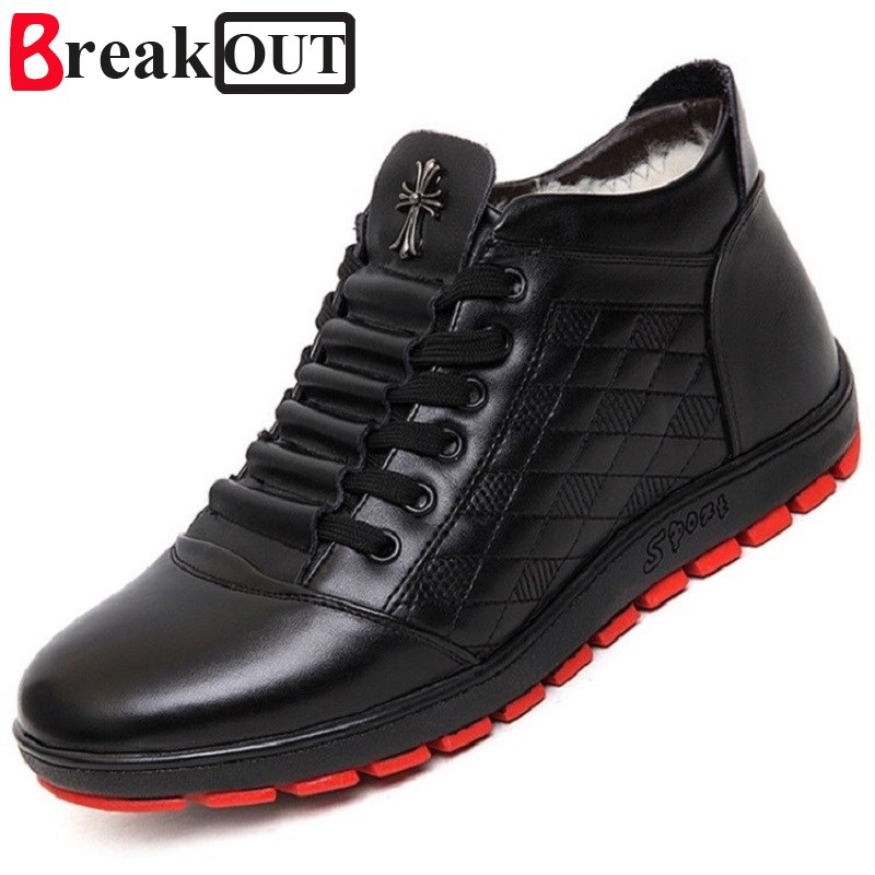 Break Out New Men Winter Boots Snow Boots for Men Ankle Boots Warm with Plush&amp;Fur High Top Fashion Men Shoes<br>