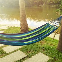 240x150CM Double Person Hammock Canvas Camping Hammocks Wooden stick Prevent Rollover Bar Garden Camping Swing Hanging(China)