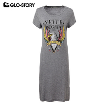 GLO-STORY Women Short Sleeve Knitted Casual Dress 2018 Animal Print Knee Length Summer Dresses WPO-1665(China)