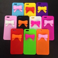 Original New Popular Colorful 3D bow lovely girl lady soft Silicone Rubber phone case cover for iPhone 4 4S 5 5S SE 6 Plus cheap(China)